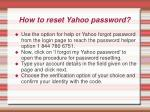 how to reset yahoo password