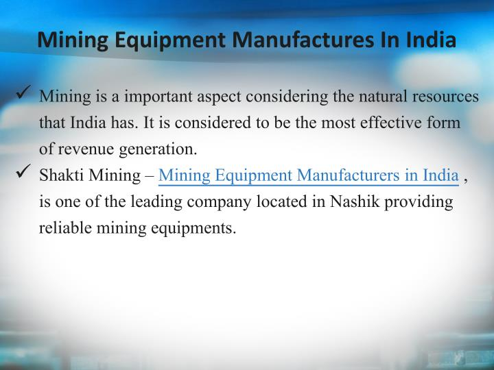 Mining Equipment Manufactures In India