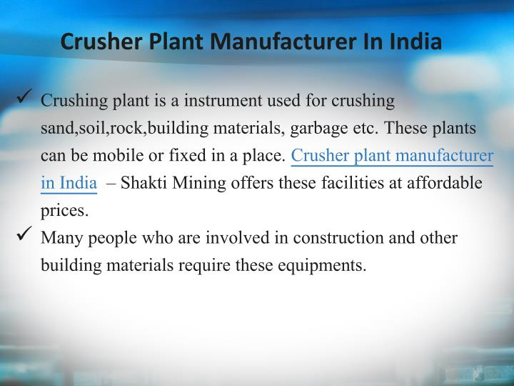 Crusher Plant Manufacturer In India