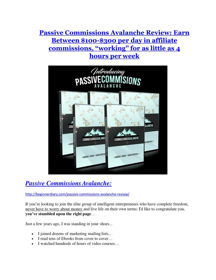 Passive Commissions Avalanche Review: Earn