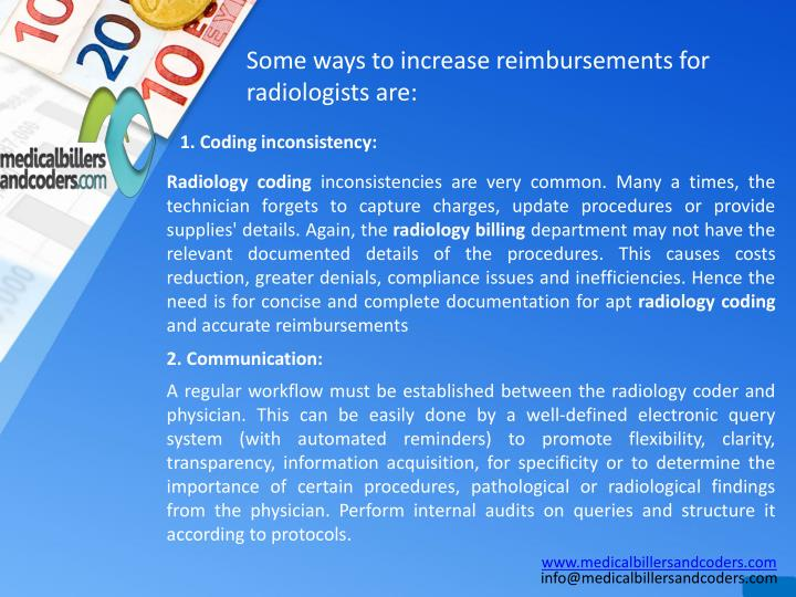 Some ways to increase reimbursements for radiologists are