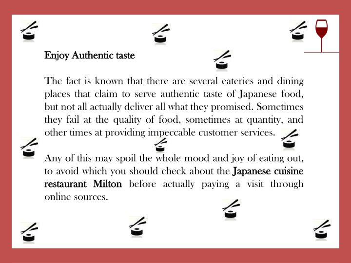 Enjoy Authentic taste