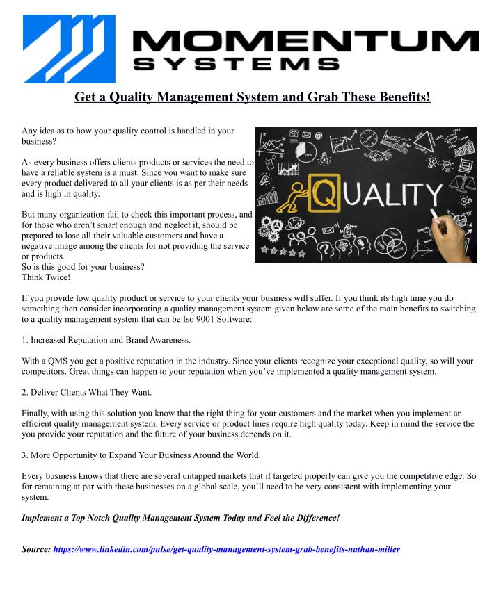 Get a Quality Management System and Grab These Benefits!