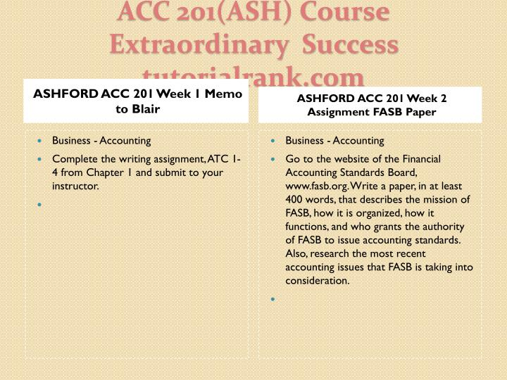 ASHFORD ACC 201 Week 1 Memo to Blair