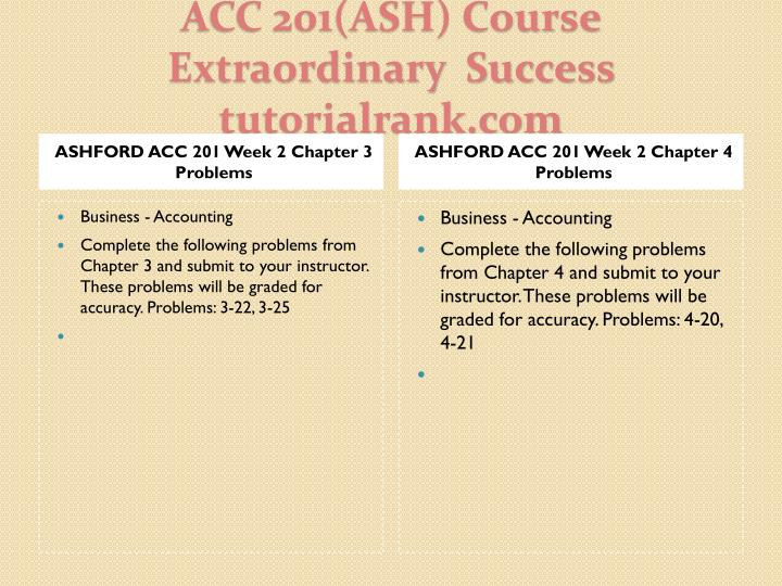 ASHFORD ACC 201 Week 2 Chapter 3 Problems
