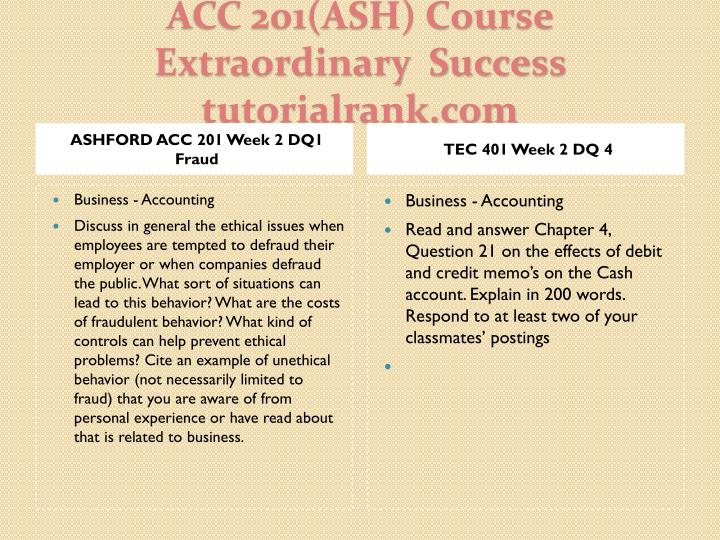 ASHFORD ACC 201 Week 2 DQ1 Fraud