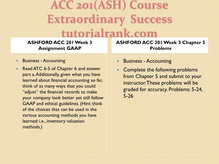 ASHFORD ACC 201 Week 3 Assignment GAAP