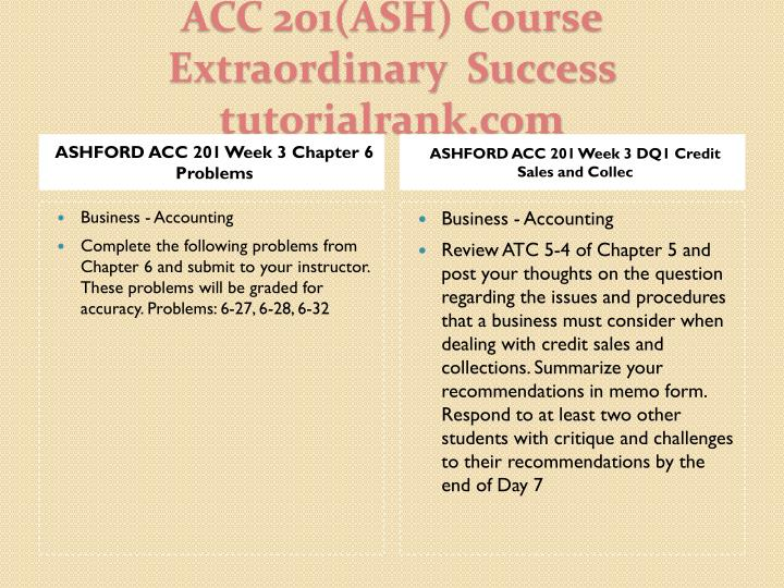 ASHFORD ACC 201 Week 3 Chapter 6 Problems