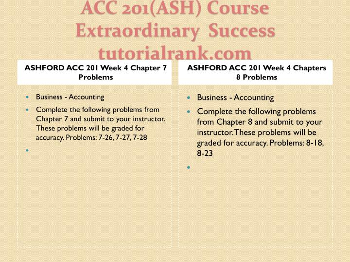 ASHFORD ACC 201 Week 4 Chapter 7 Problems