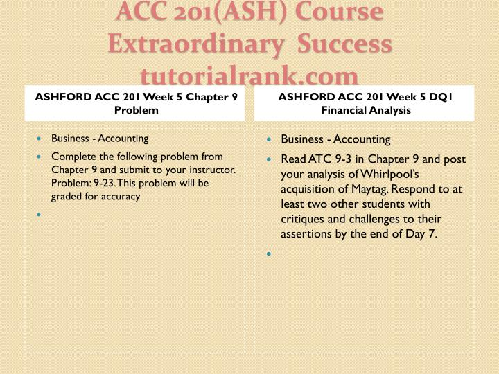 ASHFORD ACC 201 Week 5 Chapter 9 Problem