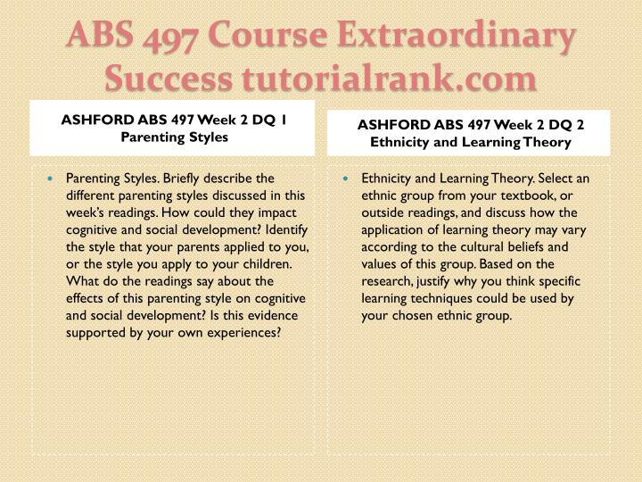 ASHFORD ABS 497 Week 2 DQ 1 Parenting Styles