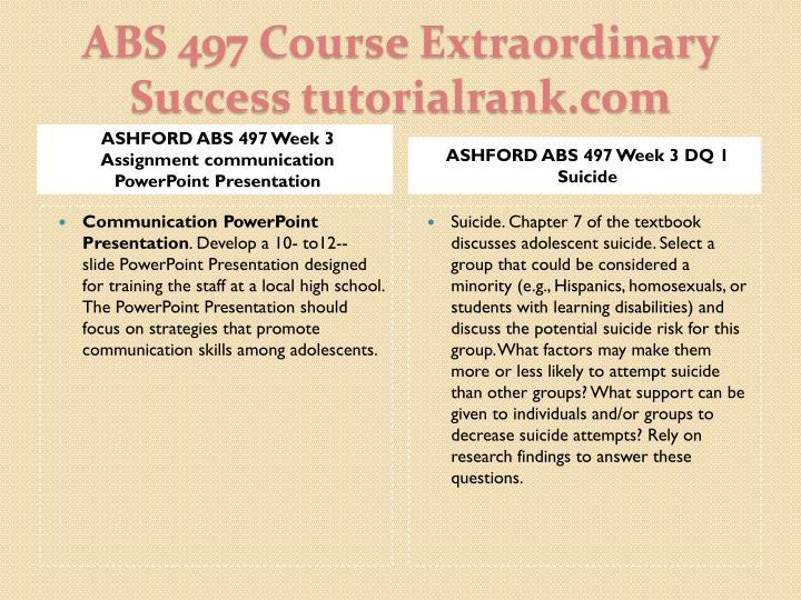 ASHFORD ABS 497 Week 3 Assignment communication PowerPoint Presentation