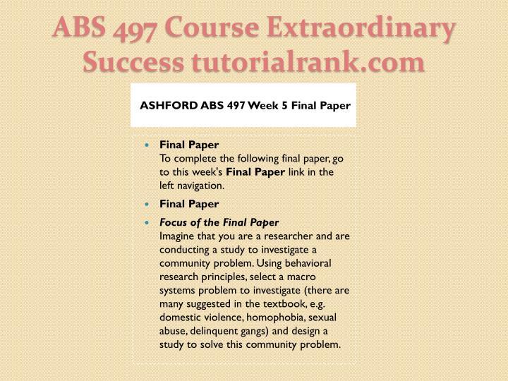 ASHFORD ABS 497 Week 5 Final Paper