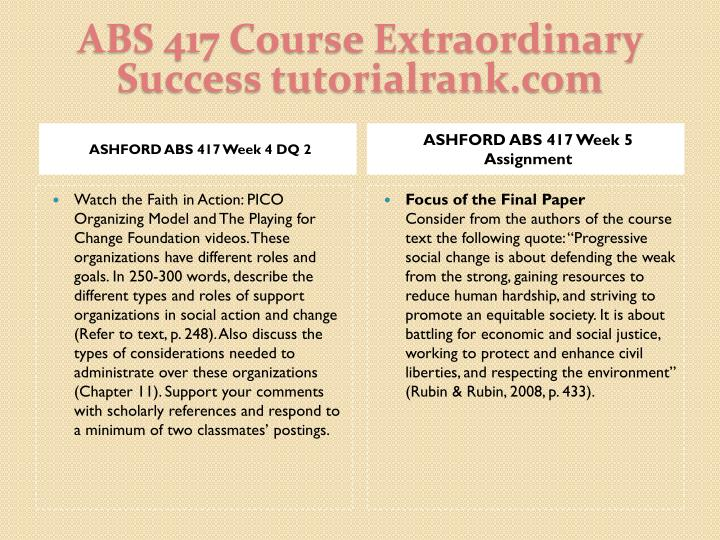 ABS 417 Course Extraordinary  Success tutorialrank.com