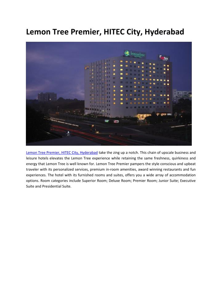 Lemon Tree Premier, HITEC City, Hyderabad