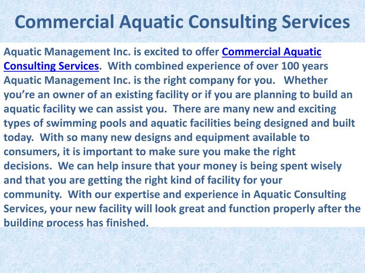 Commercial Aquatic Consulting Services