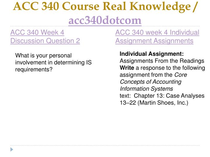 ACC 340 Course Real Knowledge /