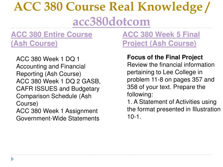 ACC 380 Course Real Knowledge /