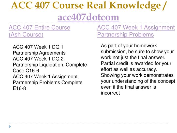 Acc 407 course real knowledge acc407dotcom1