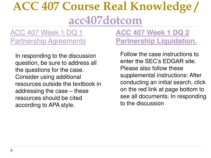 Acc 407 course real knowledge acc407dotcom2
