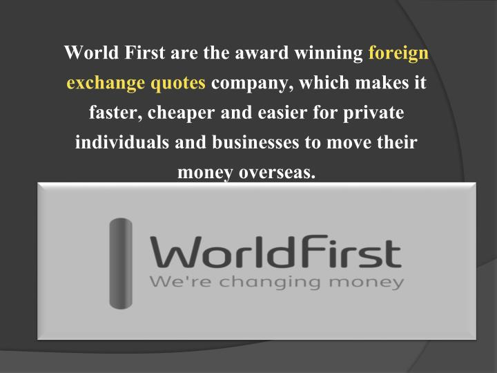 World First are the award winning
