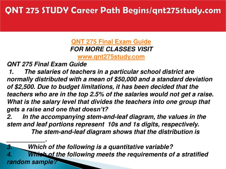 Qnt 275 study career path begins qnt275study com2