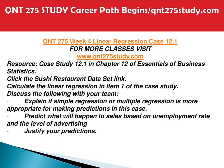 QNT 275 STUDY Career Path Begins/qnt275study.com