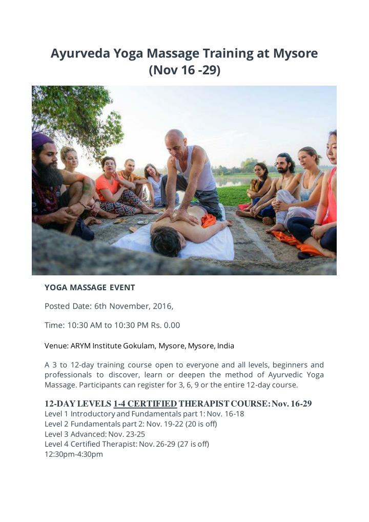 Ayurveda Yoga Massage Training at Mysore