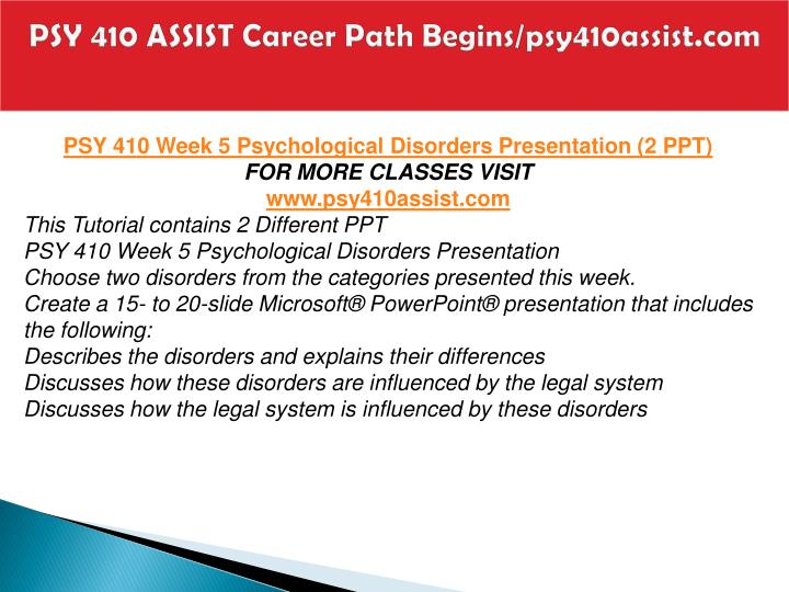 PSY 410 ASSIST Career Path Begins/psy410assist.com