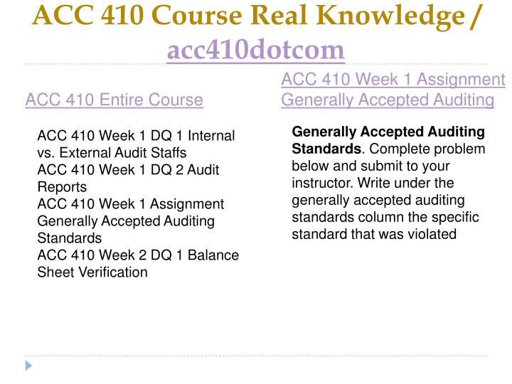 ACC 410 Course Real Knowledge /
