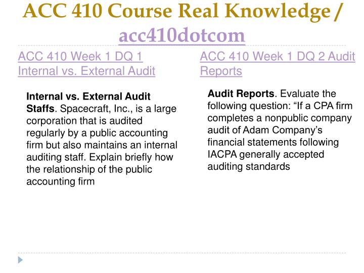 Acc 410 course real knowledge acc410dotcom2
