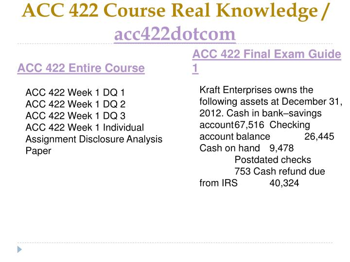 ACC 422 Course Real Knowledge /