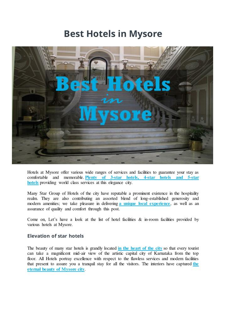 Best Hotels in Mysore