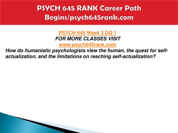 PSYCH 645 RANK Career Path Begins/psych645rank.com