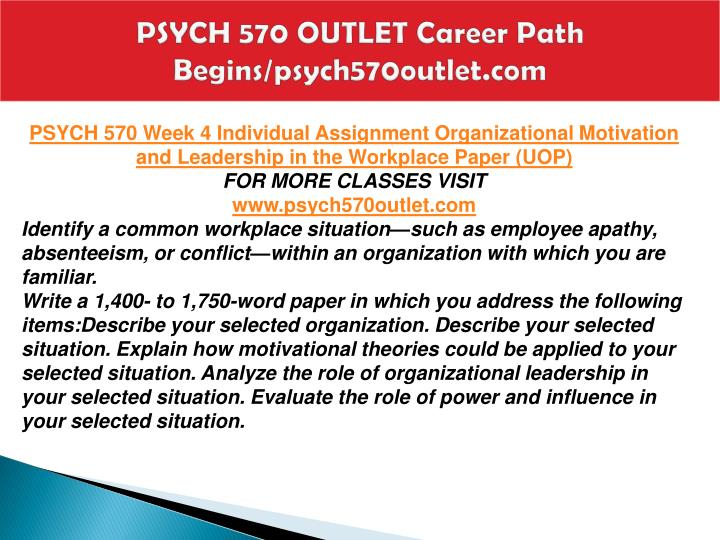 PSYCH 570 OUTLET Career Path Begins/psych570outlet.com