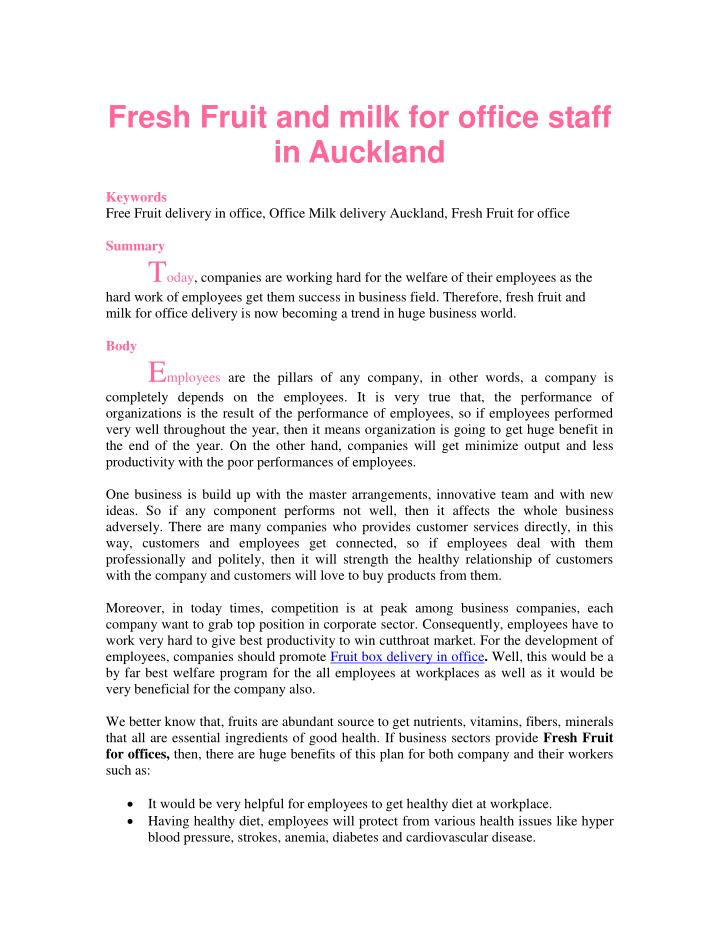 Fresh Fruit and milk for office staff
