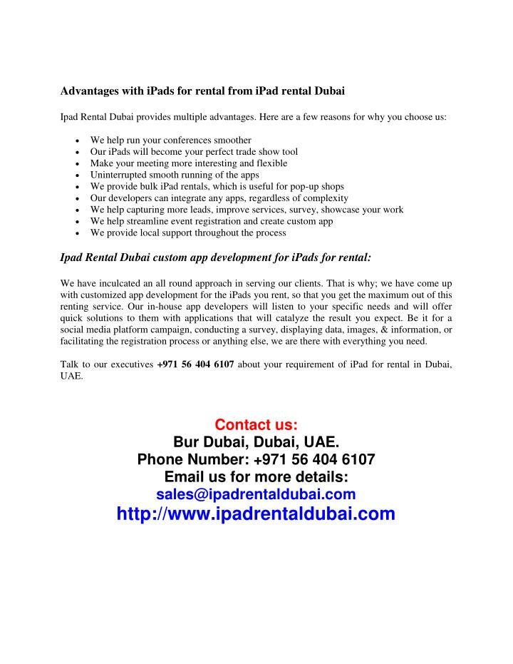Advantages with iPads for rental from iPad rental Dubai