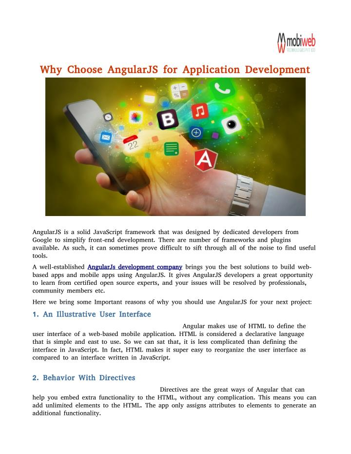 Why Choose AngularJS for Application Development