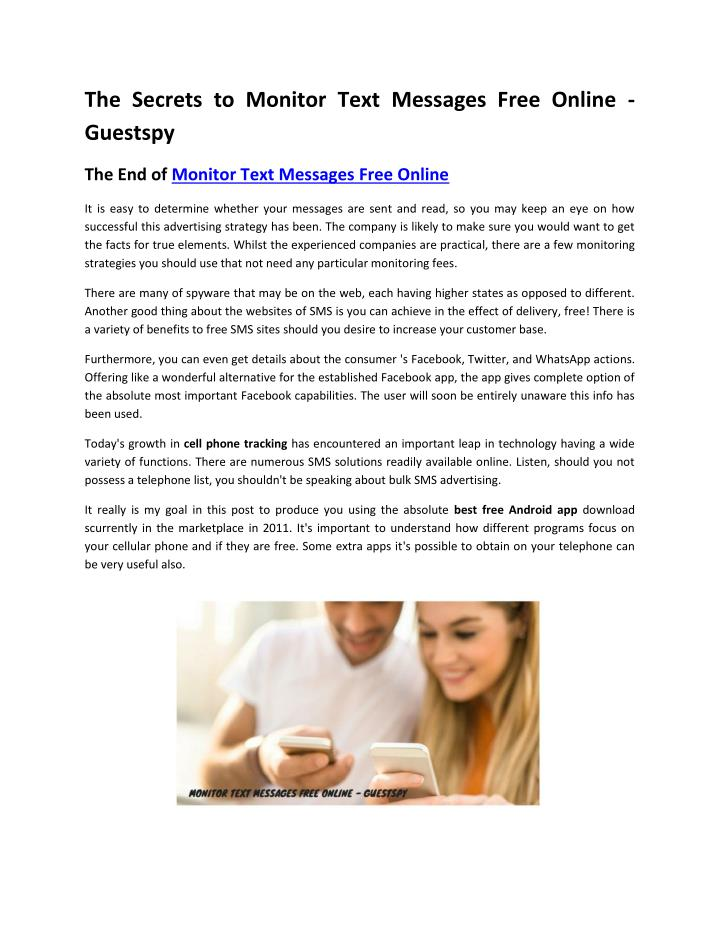 The Secrets to Monitor Text Messages Free Online -