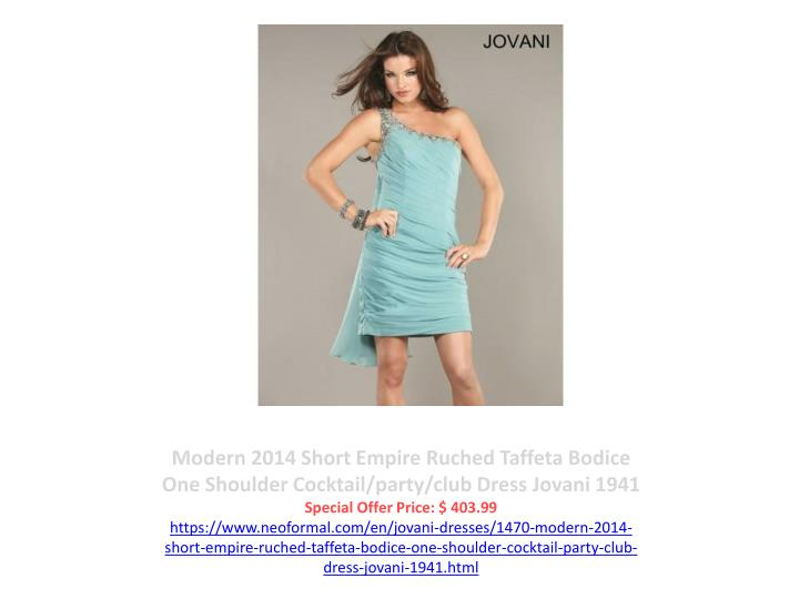 Modern 2014 Short Empire Ruched Taffeta Bodice One Shoulder Cocktail/party/club Dress Jovani 1941