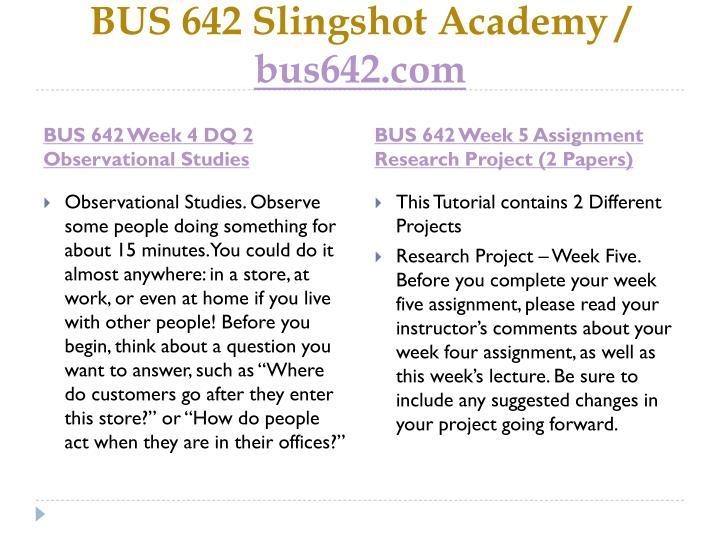 BUS 642 Slingshot Academy /