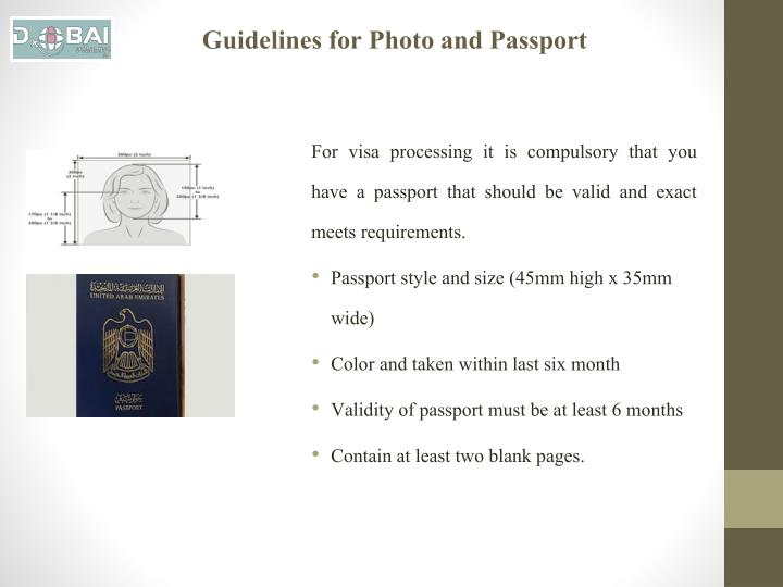 Guidelines for Photo and Passport