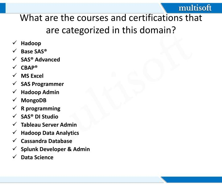 What are the courses and certifications that are categorized in this domain?