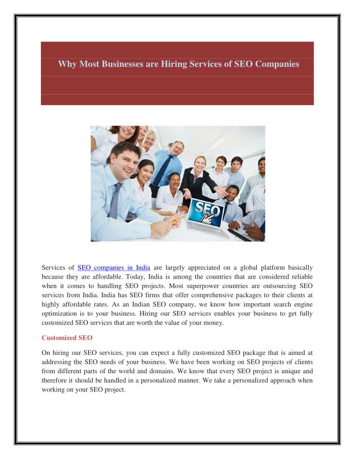 Why Most Businesses are Hiring Services of SEO Companies