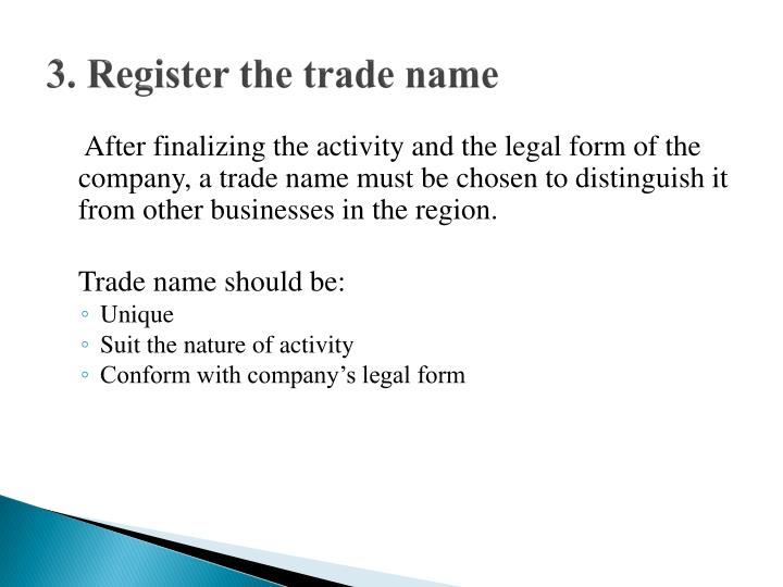 3. Register the trade name