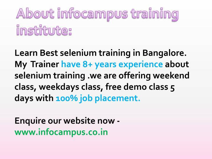 Learn Best selenium training in Bangalore.