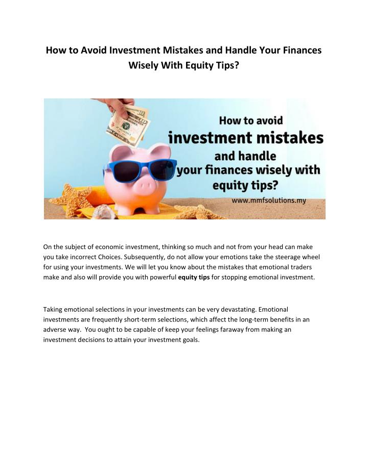 How to Avoid Investment Mistakes and Handle Your Finances