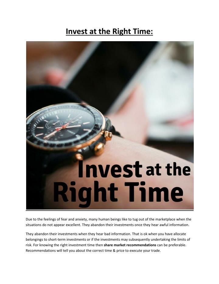 Invest at the Right Time: