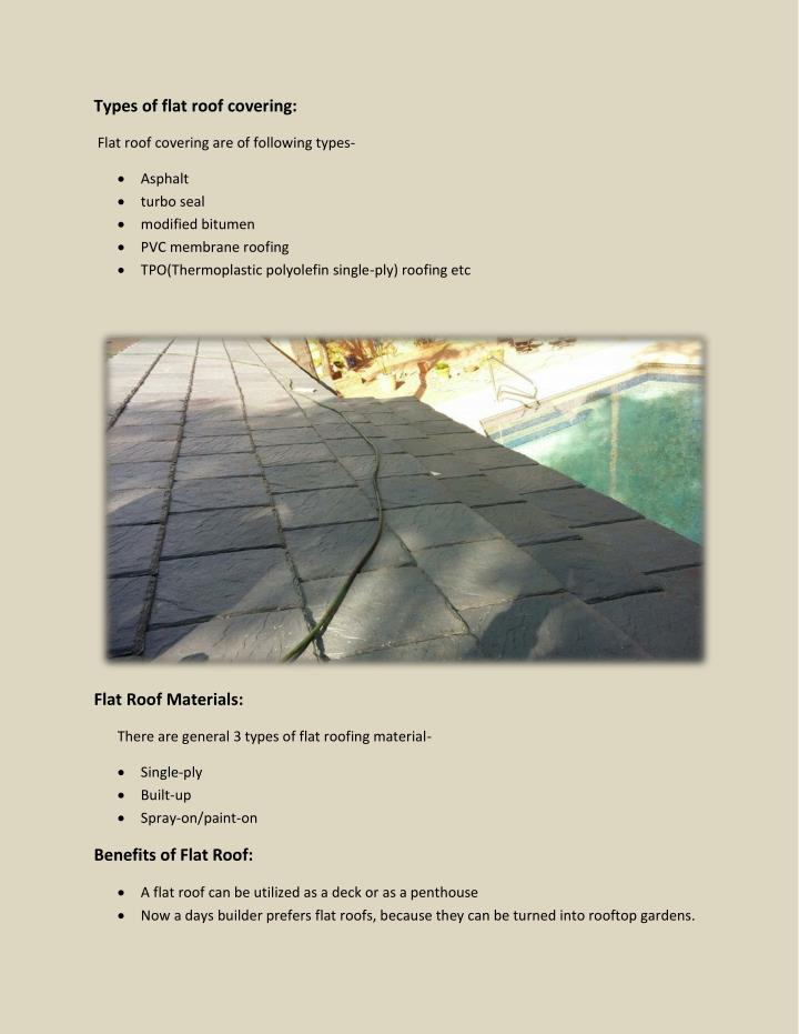Types of flat roof covering: