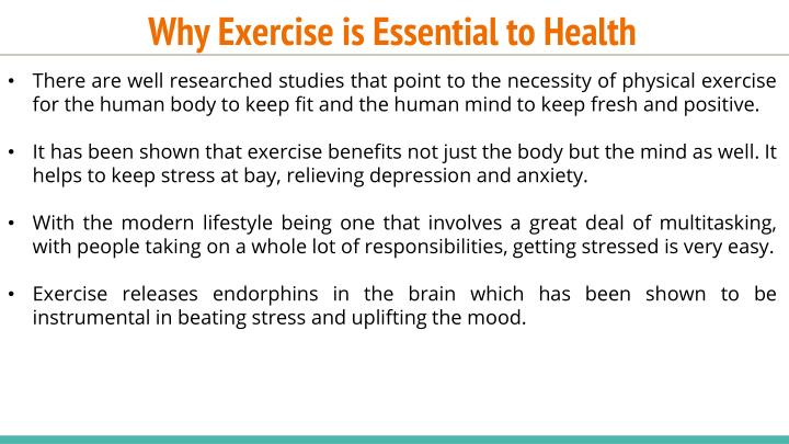 Why exercise is essential to health